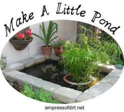 How to make a little pond at http://empressofdirt.net/make-a-little-pond-tips-tricks-and-project-ideas/: Pond Ideas, Garden Ideas, Water Features, Outdoor, Garden Ponds, Gardens, Project Ideas, Water Garden