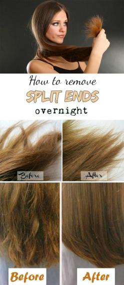 How to remove split ends overnight: Split Ends, Hair Diy, Hair Styles, Diy Hair Mask, Remove Split, Diy Hair Cut, Diy Split End, Ends Overnight, Overnight Hairstyles