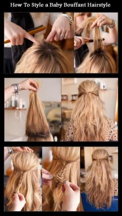 How To Style a Baby Bouffant Hairstyle | hairstyles tutorial: Hair Ideas, Baby Bouffant, Bouffant Hairstyles, Hair Styles, Makeup, Hair Tutorial, Hairstyle Tutorials