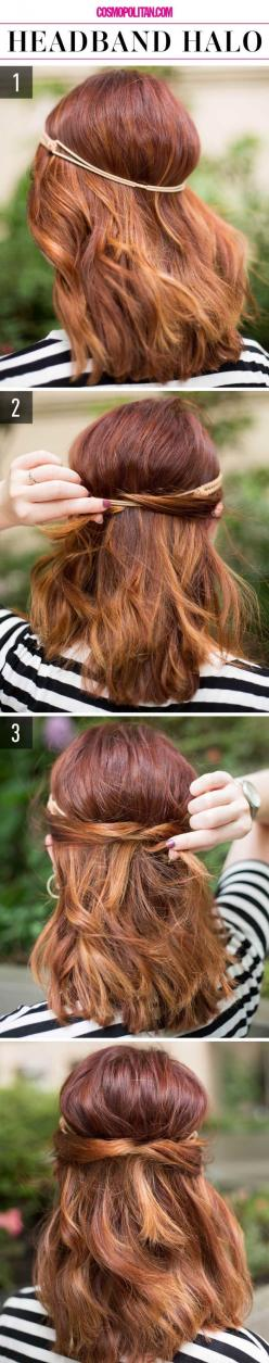 How to use a headband for a cute half-up hairstyle.: Hair Styles, Lazy Girl Hairstyles, 15 Super Easy, Super Easy Hairstyles, Half Up Hairstyle, Hair Color, Lazy Girls, Cute Hairstyles