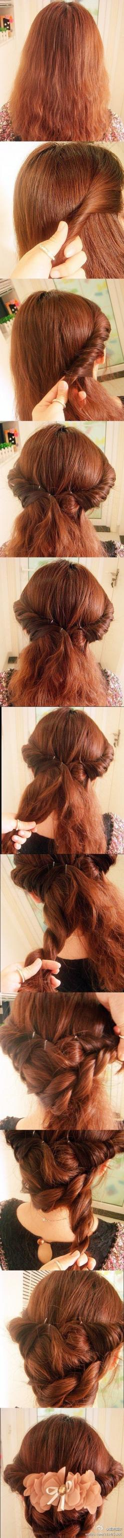 I'm loving this website. All instructions are in Chinese, but the pictures are simple enough. SO many cute looks. =D: Hairstyles, Vintage Hair Style, Hair Styles, Stuff, Hair Tutorial, Long Hair, Updo Tutorial, Hair Twist