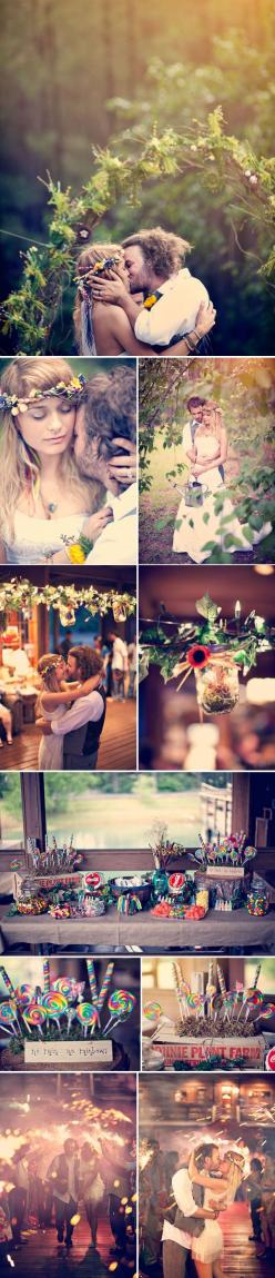 I'm not gonna be one of those girls that starts planning their wedding now when I don't plan to get married for a long time.... but this is probably along the lines of what I'd want: Hippie Wedding Dress, Wedding Ideas, Candy Bar, Bohemian Wed