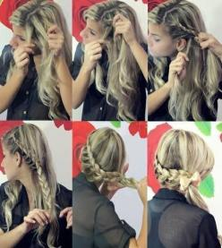 I did this style on my hair and it is amazingly cute! I love it!!: Hair Ideas, Hairstyles, Hair Styles, Hair Tutorial, Makeup, Braids, Beauty