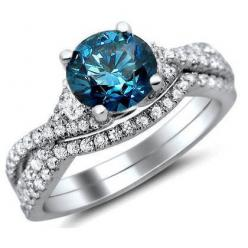 I do not care on the style of ring it is. But this is the color blue I want for my engagement ring.  I'm not a fan of the plain white ones.: Diamond Engagement Rings, Blue Round, Round Diamonds, White Gold, 18K White, Bridal Sets