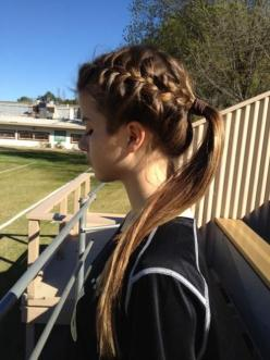 I do this all the time for soccer, it's cute and your hair is sill up and out of the way!: Hair Ideas, French Braids, Hairstyles, Hair Styles, Makeup, Beauty, Braided Ponytail