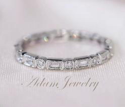 I friggin love this! I think it would be awesome to have stackable rings!!! Second Payment for Julie Josephs Only Baguette by AdamJewelry, $260.00: Eternity Band, Ring Band Full, Wedding Band, Baguette Round14K White, Engagement Ring, White Gold Weddings,