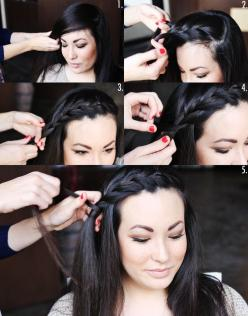 I have to try this...braiding is not my fthing though, I just don't understand how it works??: Bang Braid, Hair Ideas, Hairstyles, Hair Styles, Front Braid, Braids