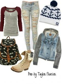 I like the jeans and the shirt, but i would wear the jacket with something else.: Back To School Outfit, Cute Clothes For Teen, Fashion Style For Teen, Winter Outfit, Backpack For Teen, School Clothes For Teen, Cold Outfit, Outfit For Teen, Dress For Teen