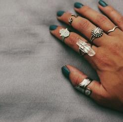 I wish I had pretty hands so I could pull this off: Boho Rings, Accessories Jewelry, Boho Gypsy, Nail Polish, Jewelry Accessories, Jewelry Piercings, Crystal Ring, Silver Rings