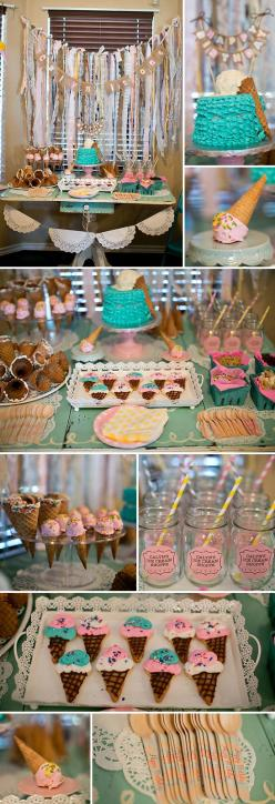 Ice Cream Themed Birthday Party: Cream Themed, Ice Cream Baby Shower, Themed Birthday Parties, Ice Cream Party Ideas, Ice Cream Birthday Party Ideas, Girls Ice Cream Party, 1St Birthday, Ice Cream Theme Birthday Party, Birthday Ideas
