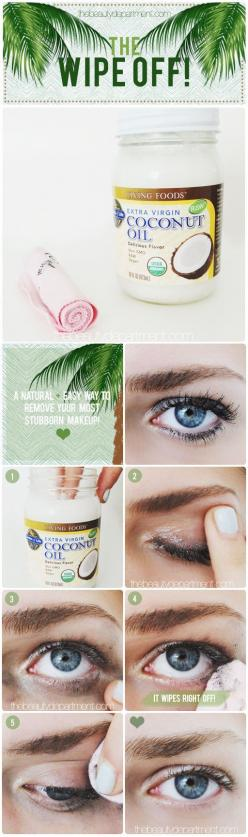 If you don't have makeup remover, just use coconut oil. | 47 Lazy-Girl Beauty Hacks Everyone Should Know: Beauty Tutorials, Skincare, Make Up, Beauty Tips, Beauty Hacks, Diy'S, Eye Makeup Remover, Diy Beauty, Oil