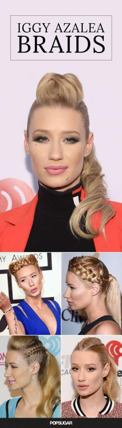 Iggy Azalea is the ultimate celebrity hair inspiration for edgy braids. From undercut braids to milkmaid braids and everything in between, she keeps her hair looking fresh!: Braided Hair, Diy Hair, Celebrity Hair, Azalea Hairstyles, Danishaz Hair, Braid H