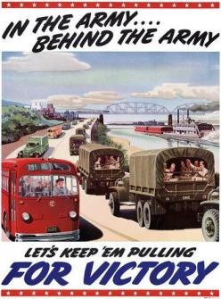 In the Army ... Behind the Army. Let's keep 'em pulling for victory. A General Motors industrial mobilization poster from WWII. Vintage WWII poster, circa 1942. #wwii #army: General Motors, Propaganda Posters, Mobilization Poster, Wwii Posters, Ti