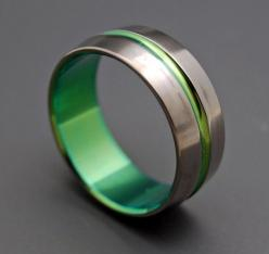 Inspired by Green Lantern  Titanium Wedding Bands by MinterandRichterDes, $120.00 I've see others inspired by green lantern, and there cool. But non of them made me want them for my ring like this does! lol: Titanium Wedding Band, Mens Wedding Band, T