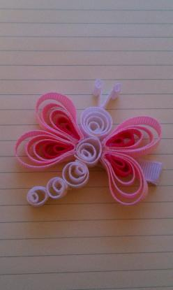 Items similar to Pink & White Dragonfly Ribbon Sculpture Hairclip on Etsy: Hairbows, Idea, Hair Clips, Dragonfly Hairbow, Hair Bows, Hair Accessories, With Ribbons, Diy Hairclips, Ribbon Sculpture