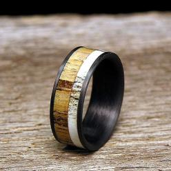 Jack Daniels Barrel Wood Carbon Fiber Wedding Band by HolzRingShop, $200.00 this would be cool for my brother if he gets married again...: Deer Antlers, Barrel Wood, Weddings, Whiskey Barrels, Wedding Bands, Rings, Carbon Fiber, Woods