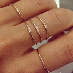 Jennie Kwon Designs / Three Bezel Ring. I love their dainty simplicity. Perfect for stacking.: Bezel Ring, Dainty Ring