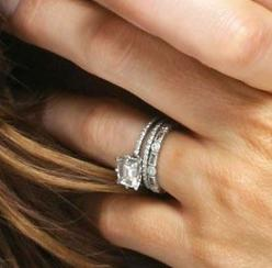 Kate Beckinsale's stacking engagement solitare, and eternity wedding bands: Emerald Cut, Kate Beckinsale, Wedding Ideas, Weddings, Diamond, Thin Band, Wedding Bands, Wedding Rings, Engagement Rings