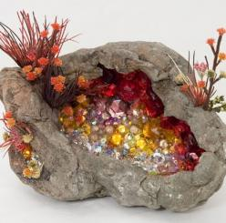 "Kia Neill.  ""small cavity of rock is embellished with a splendor of crystals and flora"": Crystals Rocks Gems, Idea, Geode, Kia Neill, Kianeill, Gems Rocks Minerals, Art, Stone Rock Mineral, Crystals Stones Gemstones"