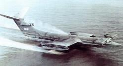 "KM - Russian ""Caspian Sea Monster"" Ekranoplan. The biggest ground-effect vehicle ever designed: 100 meters long, weight: 544 tons, powered by ten Dobryin VD-7 turbojet engines: Turbojet Engines, Aviation, Caspian Sea, Aircraft, Sea Monsters, Vehic"