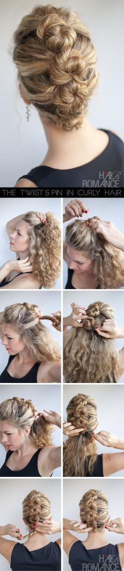 @L Mahaffey Fanning - I want to see you try this with your fab curls!!!  Put a twist on the classic French braid to go perfectly with a LT dress! #savvysummer: Hairstyles, Hair Styles, Hair Tutorial, Makeup, Updos, French Twist, Curly Hair