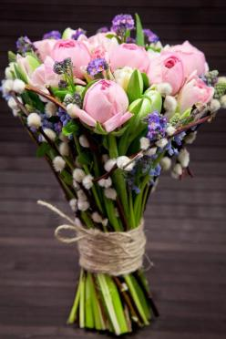 Late April/early May only. Pussy willow, grape hyacinth, ranunculus, forget me nots, tulips: Spring Bouquet, Pussy Willow, Spring Wedding, Bouquets, Flower Arrangements, Beautiful Flowers, Pussywillow