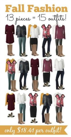 Learn how to create 15 outfits for fall that are just $18 per outfit!: Fall Fashions, Coupon Closet, Capsule Wardrobe, Fall Fashion For Work Outfits, Frugal Fall, Fall Outfit, Fall Winter, Fall Wardrobe