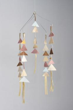 Leather mobile: Idea, Craft, Baby Mobiles, Mobiles Photoshoot, Mobile Triangles, Leather Mobiles, Diy, Triangle Mobiles