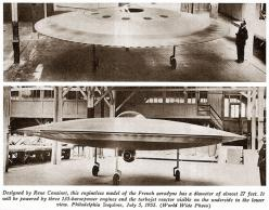 lenticular reentry vehicle lrv | Couzinet, contd) A 3/5th scale model made of wood with what appeared ...: Strange Aircraft, Shaped Aircraft, Couzinet Rc360, Ufo, Rc360 Aerodyne