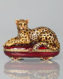 Leopard Box by Jay Strongwater at Neiman Marcus.: Music Jewelry Trinket Boxes, Strongwater Leopard, Jay Strongwater, Leopards, Hinged Boxes, Artsy Cool Stuff, Jewelry Boxes