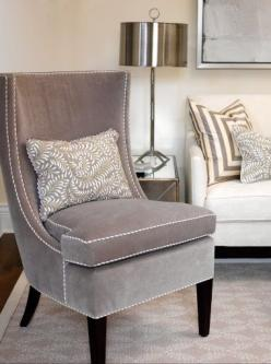 living rooms - Cloverdale Paint - Golden Pastel - gray velvet nailhead trim chair white gray silk pillow white sofa chrome lamp Sarah Richardson: Interior, Living Rooms, Chairs, Color, Livingroom, Grey, Gray, Bedroom