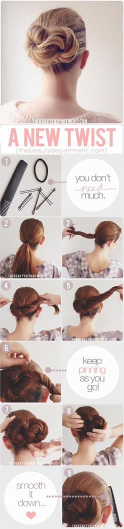 Long hair style: twist updo. Very cute and easy enough to do as an every day hairstyle.: Up Dos For Long Hair Tutorial, Hairstyles, Hair Tutorials, Cute And Easy Hair Tutorial, Hair Styles, Easy Long Hair Updo, Updos