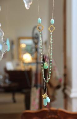 Long Multi Layer Necklace, Wire Wrapped Chrysoprase w Peru Opals, Yoga Lotus Flower, Quatrefoils, Aqua and Green Delicate Layering, Gold via Etsy: Diy Long Necklace, Green Delicate, Lotus Flowers, Layered Necklace, Wrapped Chrysoprase, Yoga Lotus, Peru Op