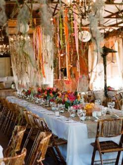 looooove the ribbons plan :) i will definitely be doing that... cheaper gorgeous way to decorate paired with LOTS of lights, rustic decor, and floral :): Reception, Bohemian Wedding, Wedding Decor, Wedding Ideas, Weddings, Table Setting, Boho Wedding