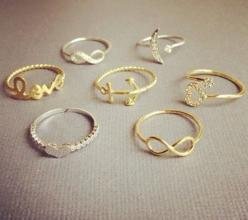 love all of these rings, especially the moon and the star(:: Fashion, Style, Jewelry, Rings, Dainty Ring, Accessories