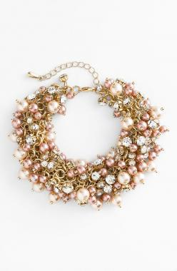 Love the decadent cluster of shimmering pearls and round crystals on this bracelet.: Nina Peony, Crystals, Bracelets, Pearls, Crystal Cluster, Blush Pearl