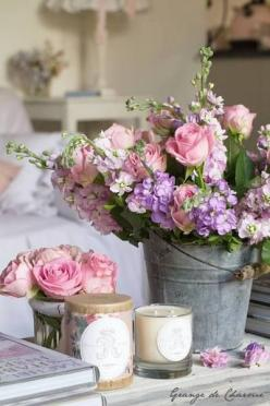 Love the flowers in the old bucket just right for a farm wedding!: Rose, Idea, Shabby Chic, Wedding, Flower Arrangements, Floral Arrangement, Flowers, Garden, Flower