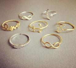 Love the infinity sign ones.. put a small diamond on it and id take it as an engagement ring: Fashion, Style, Rings, Jewelry, Accessories, Dainty Ring