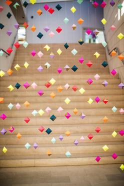 love this hanging confetti idea #decor: Craft, Paper Diamond, Art, Deco Nouvel An New Year, Origami Decoration, Diy