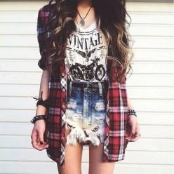 love this style, but I probably can pull it off :( haha: Outfits, Fashion, Grunge, Style, Vintage, Dream Closet, Clothes, Flannel