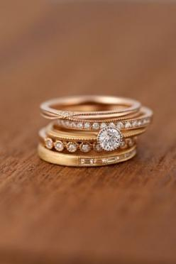 lovely stack of gold rings, can doll up your fingers when they are in need of a manicure!: Stackable Rings, Stacked Rings, Gold Stack, Stacked Engagement Ring, Gold Rings, Wedding Bands, Rose Gold