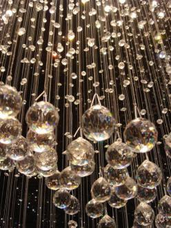 LOVVVVVVVVVVVEEE  these hanging Chrystals.  Add some chandeliers and it is perfect!: Crystals, Bubble, Crystal Chandeliers, Idea, Rain Storm, Glass, Hanging Crystal, Light, Glitter