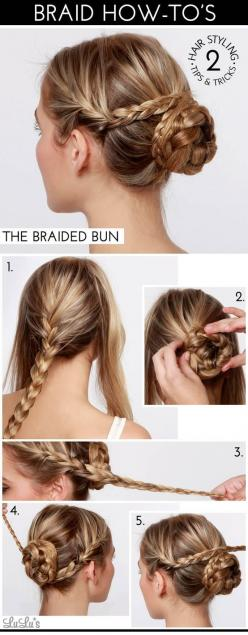 LuLu*s How-To: The Braided Bun: Hair Ideas, Braided Buns, Hairstyles, Hairdos, Hair Styles, Hair Tutorial, Makeup