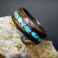 Mahogany Bentwood Ring with Turquoise inlay - Hand Crafted wooden ring made to your size! - District31: Turquoise Inlay, Mahogany Bentwood, Crafted Wooden, Wooden Rings, Jewelry Rings, Size