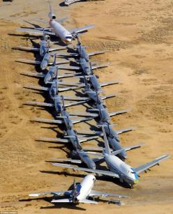 Major aircraft carriers in the U.S store dozens of passenger planes at the 5,000-acre former Air Force base in Victorville, California. The planes are mix of retired planes and planes that have been temporarily discontinued due to budget constraints. The