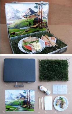 Make a really cute picnic kit! Would make a fun wedding present!  (and 33 other Irresistibly cute Spring DIYs): Gift, Craft, Idea, Picnics, Portable Picnic, Diy, Lunchbox