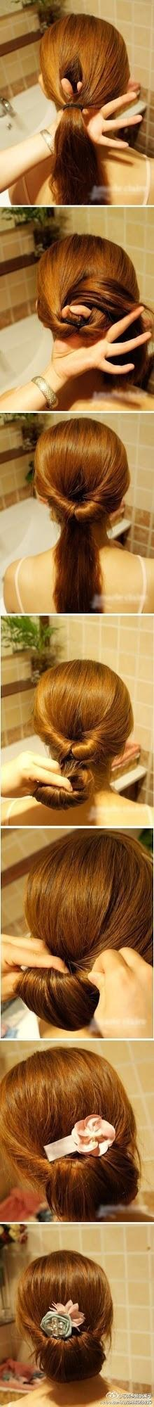 Make a Simple updo, but I would only do half my hair, and then the rest long and flowing: Hair Ideas, Hairstyles, Hairdos, Hair Styles, Hair Tutorial, Makeup, Updos, Hair Do, Easy Updo