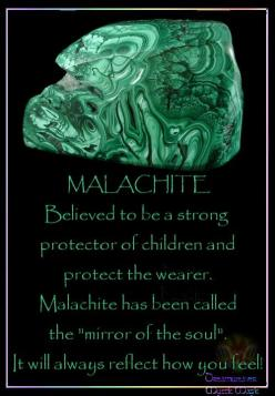 "MALACHITE Believed to be a strong protector of children and protect the wearer. Malachite has been called the ""mirror of the soul"".  It will always reflect how you feel!: Stones Gemstones, Crystals Minerals Gemstones, Healing Crystals, Gemstone He"