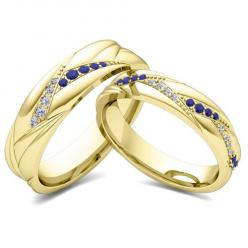 Matching Wedding Bands: Organic Inspired Rings in 18k White or Yellow Gold. His and hers wedding band set in 18k white gold wave rings with pave diamonds and blue sapphires or your choice of gemstones. Unique matching wedding ring for men and women as ann