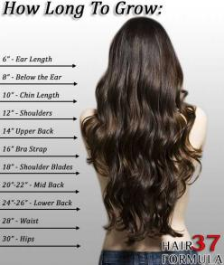 measure your hair see how long it is! if you want your hair to grow longer i have some great easy tips for you! tips~ 1. try to avoid heat 2.dont wash your hair everyday wash it about 2-3 times a week 3. get a trim every 5 weeks or every 2 months to elimi